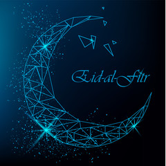 Eid Al Fitr beautiful greeting card with polygonal moon with glitter on blue background. Stock vector