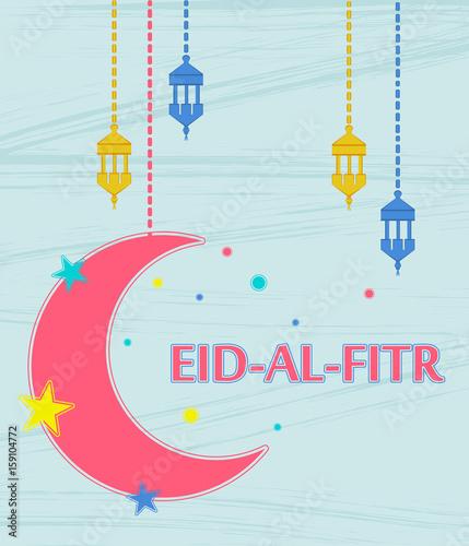 Eid al fitr muslim traditional holiday that marks the end of ramadan eid al fitr muslim traditional holiday that marks the end of ramadan greeting card with m4hsunfo