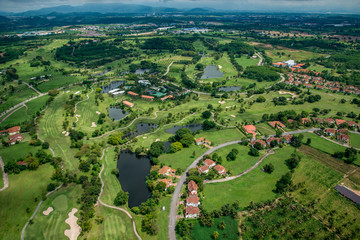 Golf course, club aerial photography in Thailand