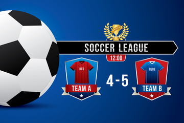 Vector of soccer league with team competition and scoreboard.