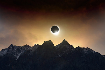Amazing scientific background - total solar eclipse