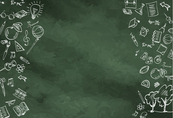 Abstract background. A blackboard with drawings on the theme of