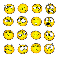 Set of handmade emoticons, emotion,  feelings, experience for icons