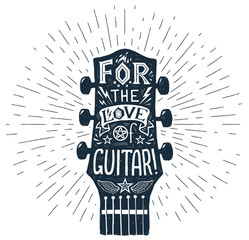 Vector hand drawn guitar fretboard silhouette with lettering inside