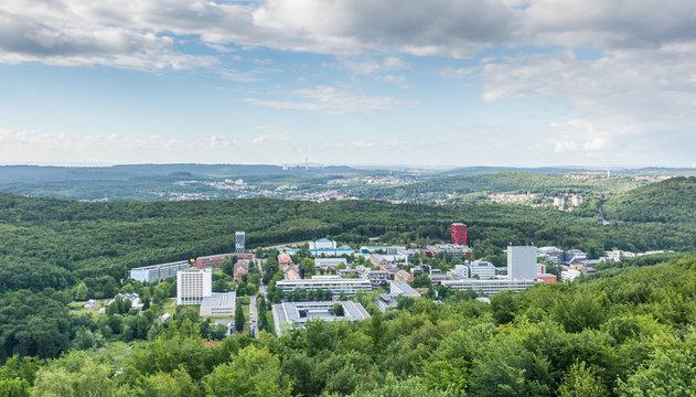 Panorama:Blick über die Universität des Saarlandes bis nach Göttelborn