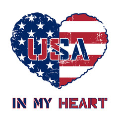 American flag as heart shaped symbol. Patriotic Typography Graphics. Mans T-shirt Printing Design. Fashion Print for sportswear apparel. Grunge and military style. illustration