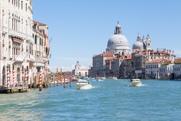 Venice, Italy, view of Basilica di Santa Maria della Salute from the Grand Canal with boats