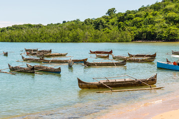 Traditional wooden pirogues on Nosy Be island, Madagascar