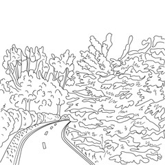 park road and trees graphic black and white landscape sketch