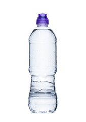 Bottle of still healthy mineral water on white