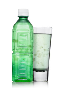 Bottle and glass of aloe vera health drink