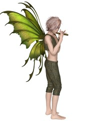 Fairy Boy with Green Wings Playing a Flute - fantasy illustration