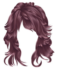 trendy woman long hairs  сopper pink colors .beauty fashion .  realistic 3d