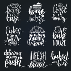 Vector set of vintage bakery hand lettering.Calligraphy collection with cookie Illustrations for print and web projects.