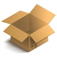 3d open box. Isometric cardboard Box. Vector Illustration.