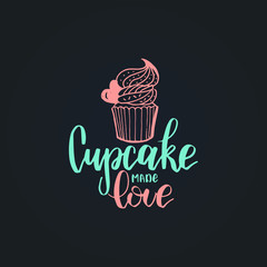 Home Bakery vector lettering label. Calligraphy with cookie Illustration for prints,cards,posters,packaging,branding.