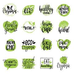 Vector eco, organic, bio signs. Vegan, healthy food illustrations set for cafe, restaurant badges, tags, packaging etc.