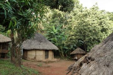 Traditionelle Häuser und Dörfer in Afrika Wall mural
