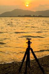 Beautiful Sunset view with camera tripod set up