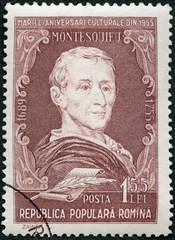 ROMANIA - 1955: shows Charles-Louis de Secondat, Baron  Montesquieu (1689-1755), philosopher, series Portraits