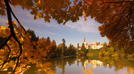 Bohemian chateau of Pruhonice at autumnal time