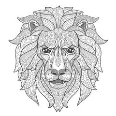 Lion head page for adult coloring book. Black and white silhouette with doodle ornament isolated on white.