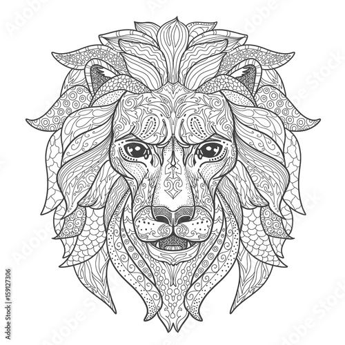 Lion Head Page For Adult Coloring Book Black And White