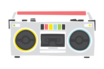Old school cassette player cartoon hand drawn style isolated vector illustration