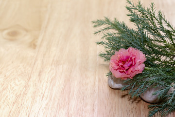 flower and leaf on wood background