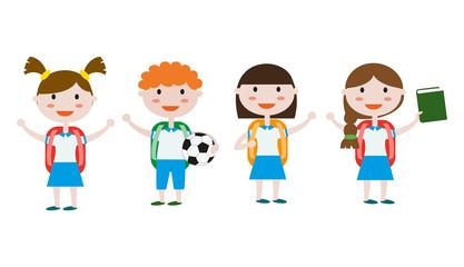 Children in school uniform.