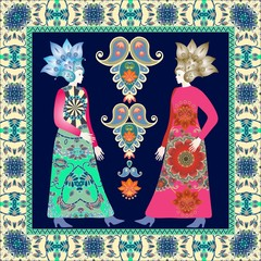 Bandana print with pretty females in vintage dress in russian style and ornamental border. Vector design. Paisley floral pattern.