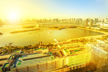 Spectacular urban scenic view of Rainbow Bridge and Tokyo Skyline from Fuji Television Observatory in Odaiba island, Tokyo, Japan. Aerial tokyo cityscape sunset light.