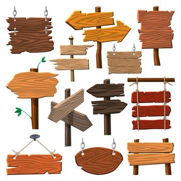 Directory wooden signboard road board wood tablet indicating index arrowhead way vector illustration