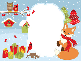 Vector Christmas and New Year Card Template with a Fox, Owls on the Branch, Cardinal, Birdhouses and Gift Boxes on Snow Background.