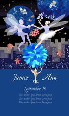 Wedding invitation card template with dancing elves. Night city landscape, flowers, autumn maple leaves, stars and planet. Vector template.