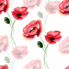Template for card with with Poppy flower