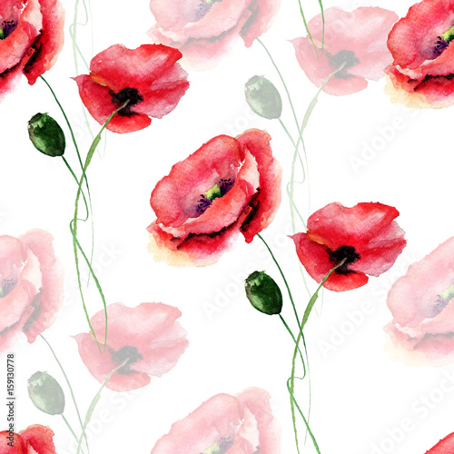 Template For Card With Poppy Flower