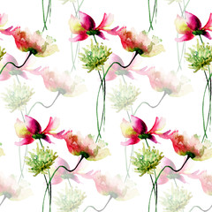 Seamless wallpaper with Decorative wild flowers