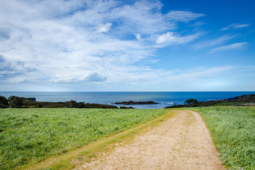 Idyllic coast path in Asturias on a day in spring in Spain