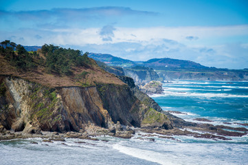Idyllic coast in Asturias on a day in spring in Spain