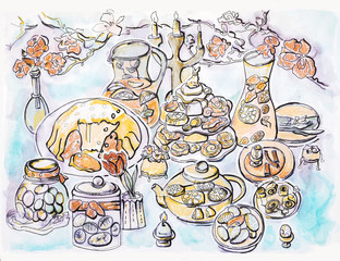 illustration of spring Easter party table
