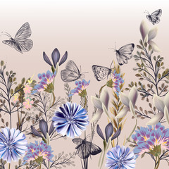 Floral illustration with field flowers in retro style