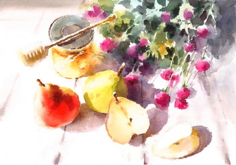 Watercolor Pears Honey And Flowers Still Life Fruit Illustration Hand Drawn