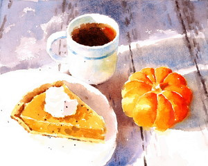 Watercolor Pumpkin Pie and a Cup of Coffee Dessert Food Hand Painted Illustration