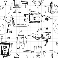 Hero seamless pattern. Unique child's drawing with school pen. Cute hero hand drawn with black ink on math paper background. Boy hero seamless pattern for textile or wrapping paper.