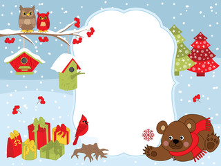 Vector Christmas and New Year Card Template with a Bear, Owls on the Branch, Cardinal, Birdhouses and Gift Boxes on Snow Background.