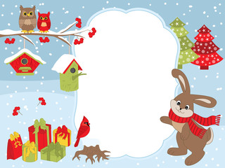 1038311 Vector Christmas and New Year Card Template with a Rabbit, Owls on the Branch, Cardinal, Birdhouses and Gift Boxes on Snow Background.