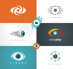 Collection of visual media related logos, symbols, icons and signs. Vector set of different eye themes in various drawing styles