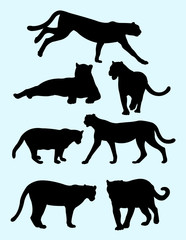 Cheetahs and panthers silhouettes. Good use for symbol, logo, web icon, mascot, sign, or any design you want.