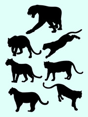 Leopards and panthers silhouettes. Good use for symbol, logo, web icon, mascot, sign, or any design you want.
